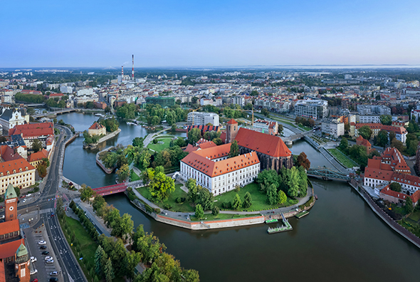 Aerial view of Wyspa Piasek (or Sand Island) in the Odra river, Wroclaw, Poland